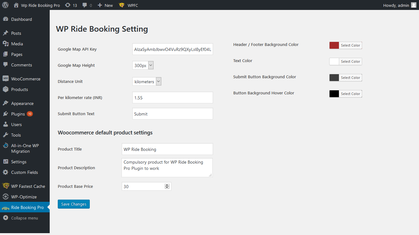 Woocommerce Taxi Booking Plugin
